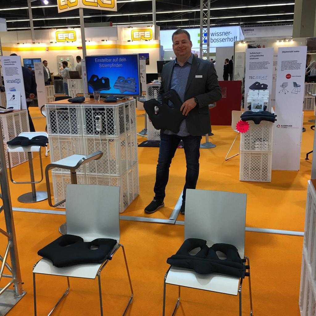 TecSeat mit dem SoftAirSeat Hybrid und Basic+ auf der Altenplfelege-Messe 2019 in Nürnberg. Innovative Sitzsysteme waren hier im Focus.